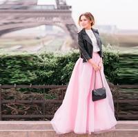 Pink Skirt A Line Floor Length Tulle Skirt Custom Made Long Skirt Top Fashion Maxi waist Skirts Women high quality