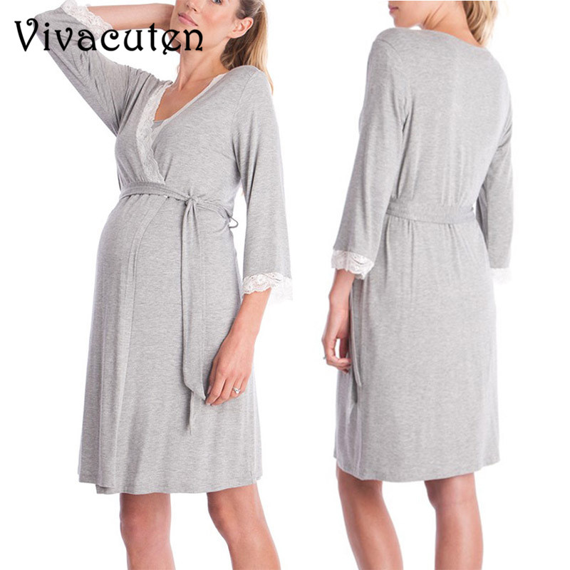 Maternity Pajamas Pregnancy Dress Casual Nursing Baby Clothes for Maternity Dress Lace Stitching Sleep Night-robe Pagamas M41