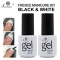 Saviland 2pcs UV Gel Polish French Manicure Nail Art Black and White Colors Free Tip Guides Esmalte French Nail Gel