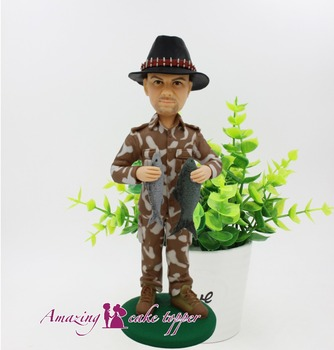2019 AMAZING CAKE TOPPER Outdoor fishing expert  Toys Clay Figure From Pictures
