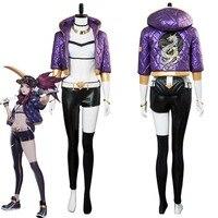 LOL Rogue Assassin Akali K/DA кожи косплэй костюм платье для женщин обувь девочек наряд на Хэллоуин карнавальные костюмы