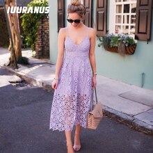 IUURANUS New Summer Women Flower Lace Dress Mid-Calf Sleeveless v-neck backless Boho white black beach party dresses
