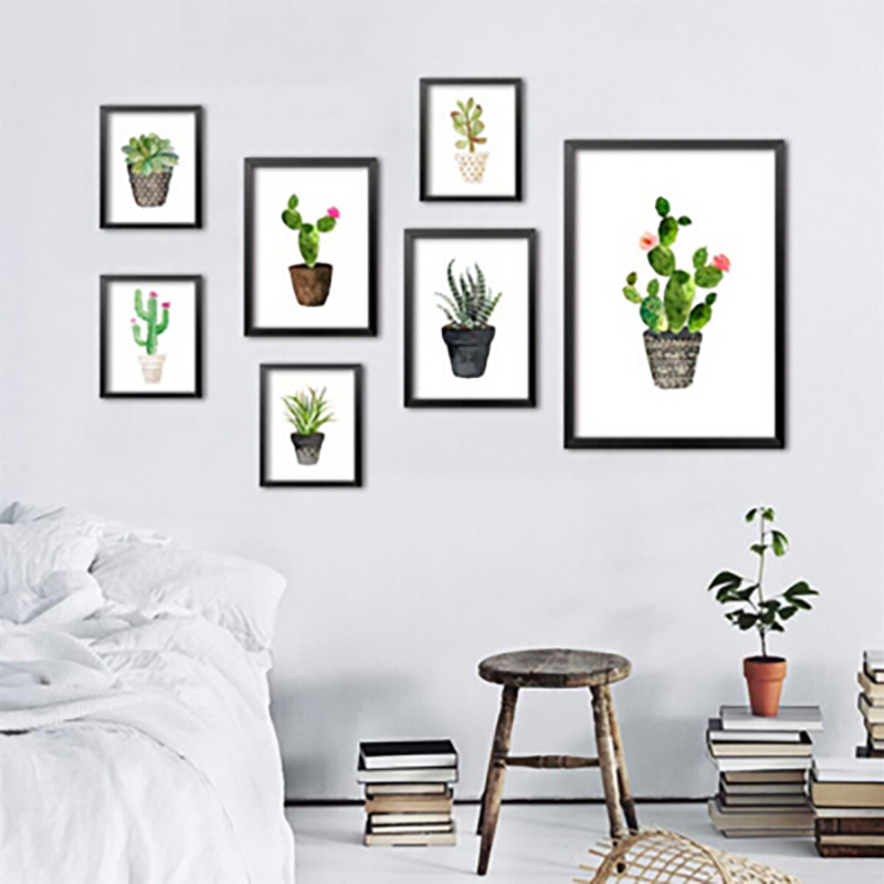 Nordic Watercolor succulent Green plant Canvas Art