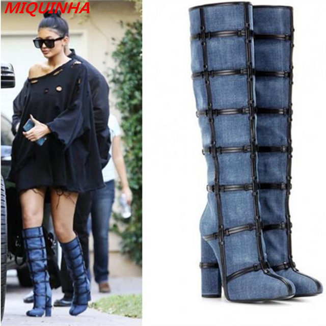 ce6ba9c3e81b Fashion Denim Caged Thigh High Boots 2017 New Sexy High Heels Shoes Spring  Winter Women Boots Chunky Heels Celebrity Shoes Woman