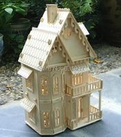 1 24 Doll Educational 3D Puzzle Wooden Miniature Toys Diy Cothic House Villa Construction Toy Models