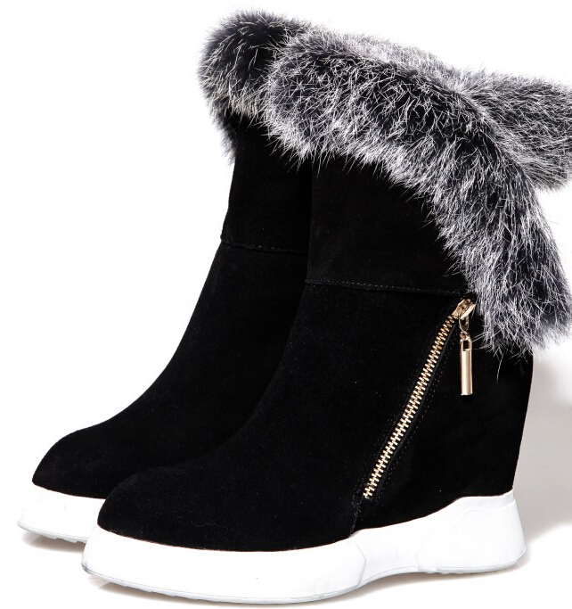Women Winter Full Grain Leather Flock Height Increase Elevator Side Zip Round Toe Fashion Ankle Boot Size 34-39 SXQ0928 адаптер dell 540 bbds i350 qp 1gb full height