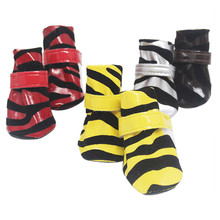 4 Sizes Winter Shoes for Dogs 4Pcs Set Cute Striped Dog Boots Warm Dog Shoes Anti