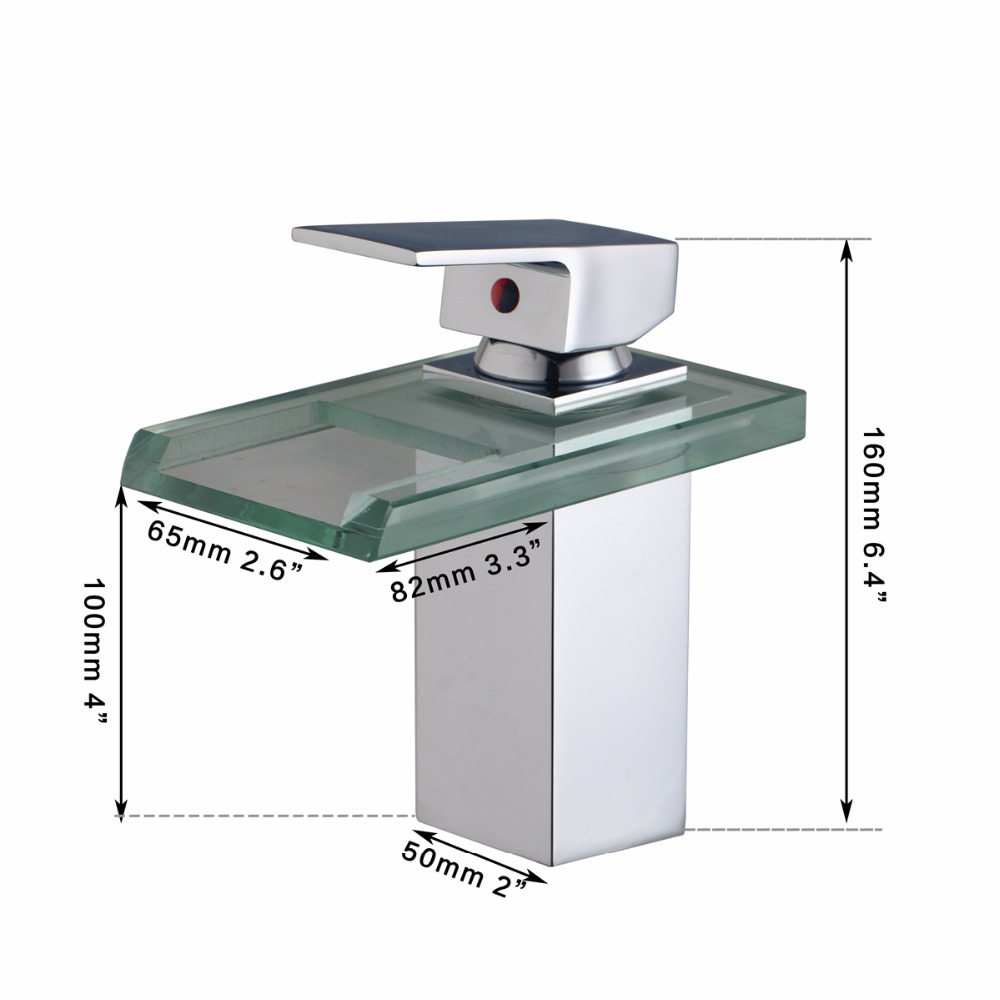 Torayvino Delicate Single Handle Bathroom Basin Sink Vessel Vanity Chrome Brass Mixer Deck Mounted Waterfall Mixer Glass Faucet