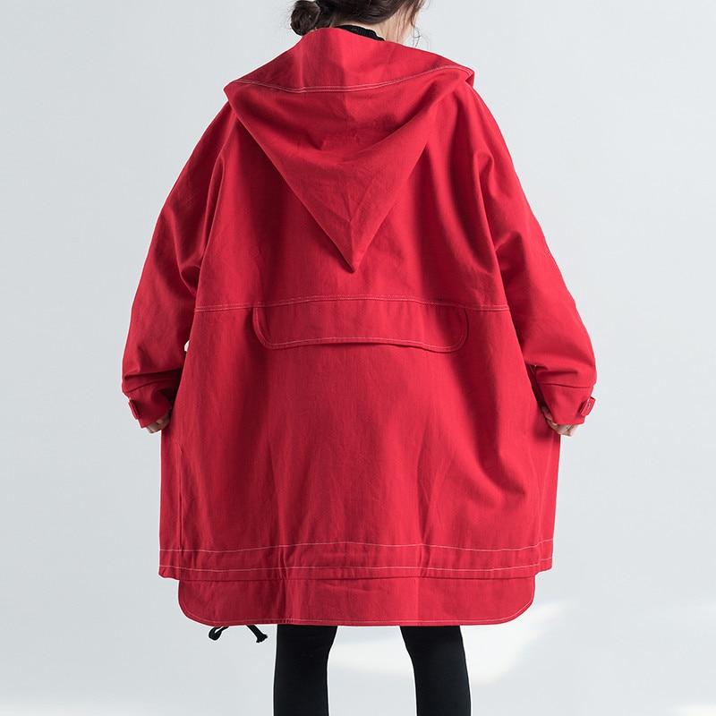 Printemps Nouveau Automne Coupe Trench Long Mediun Mode Red Grande À Casual Capuche Femelle Taille Femmes vent Lâche Fashion425 Manteau XqOxrtAXw
