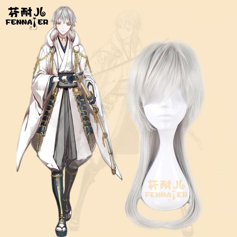 Touken Ranbu Online Tsurumaru Kuninaga Long Wig Cosplay Halloween Role Play