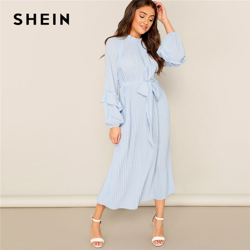 38180a6df0 SHEIN Lady Casual Blue Frill Neck Belted Solid Pleated Maxi Dress Women  Elegant Stand Collar Bishop