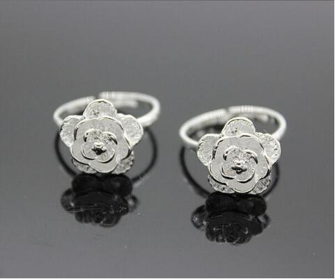 Adjustable Ring Silver-Color Cheap Women Jewelry Rose-Flower 925-Sterling Fashion Plant