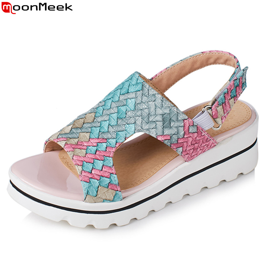 MoonMeek 2018 summer new size 42 fashion ladies shoes platform wedges shoes mixed color casual women high heels sandals women sandals 2017 summer shoes woman flips flops gladiator wedges bohemia fashion rivet platform female ladies casual shoes