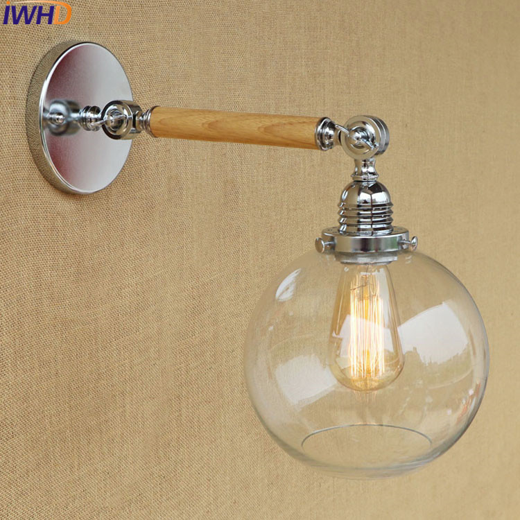 IWHD Loft Vintage Wooden Wall Lights For Home Lighting Retro Glass Wall Sconce Edison Led Wall Light Luminaire Lighting StairsIWHD Loft Vintage Wooden Wall Lights For Home Lighting Retro Glass Wall Sconce Edison Led Wall Light Luminaire Lighting Stairs