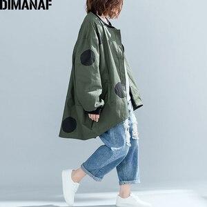 Image 4 - Dimanaf 2019 outono inverno mulheres polka dot casaco casaco tamanhos grandes cardigan com zíper roupas femininas solto oversized verde outerwear