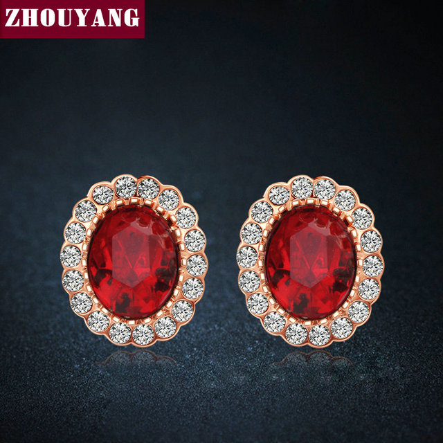 Elegant Created Red Crystal Stud Earrings Rose Gold Color Fashion