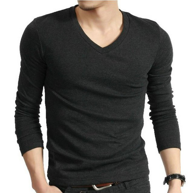 1324a12e New Men Sexy High Quality V Neck Elastic Slim Fit Fitted Muscle Compression  Long Sleeve T-Shirt Tee Free Shipping