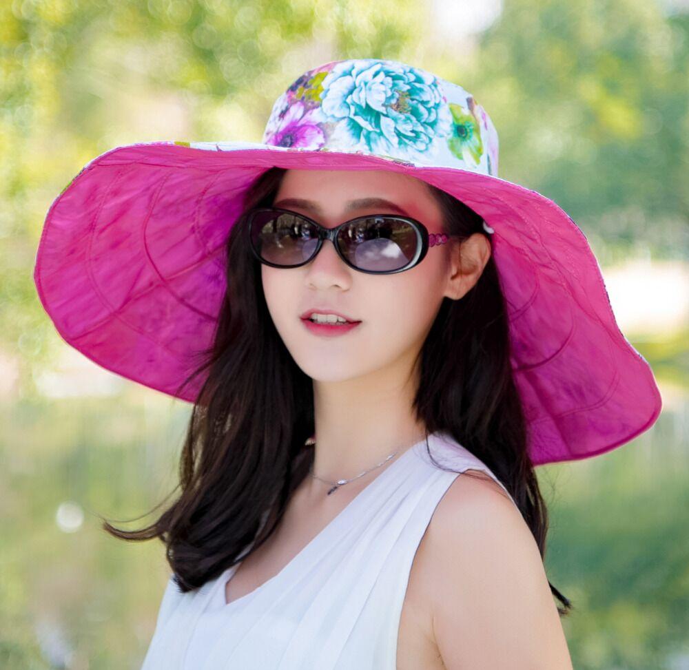 e7b3d33be5d57 jiangxihuitian Brands 2018 summer new Packable Extra Large Brim Floppy Sun  Hat Reversible UPF 50+ Beach Sun Bucket Hat -in Sun Hats from Apparel  Accessories ...