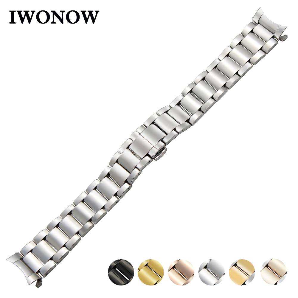 Stainless Steel Watch Band 18mm 20mm 22mm for Seiko Curved End Strap Butterfly Buckle Belt Wrist Bracelet Black Gold Silver ceramic watch band 18mm 20mm 22mm for cartier butterfly buckle strap wrist belt bracelet black white silver spring bar tool