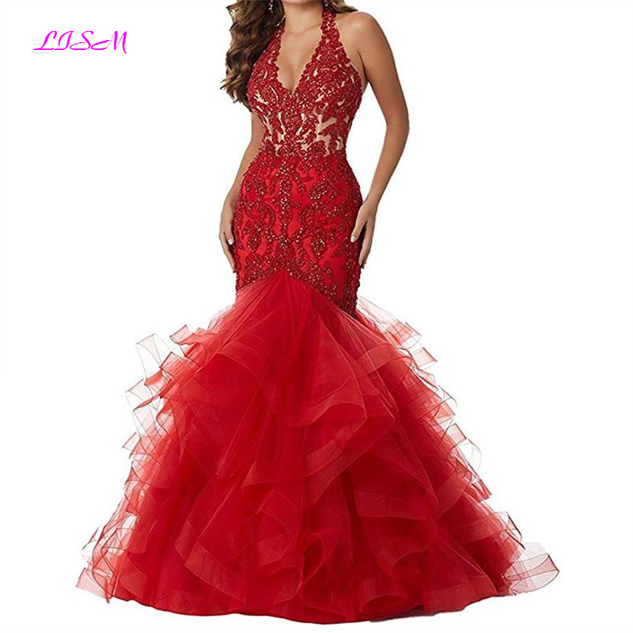 LISM Red Halter Lace Applique Mermaid Prom Dresses Long Formal Party Dresses Ball Gown Organza Bridesmaid Dress gala jurken 2018