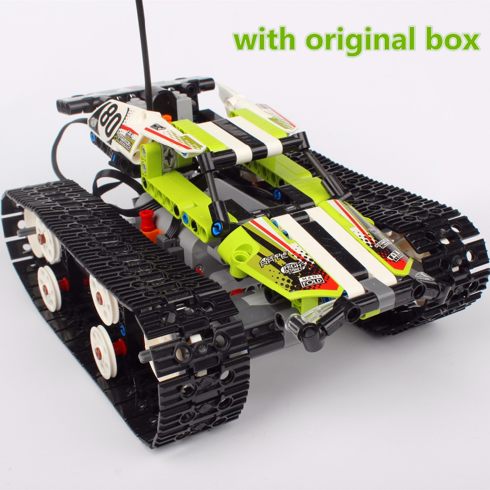 Lepin 20033 397Pcs Technic Series The RC Track Remote-control Race Car Building Blocks Bricks Gifts Toys 42065 with original box glow race track bend flex glow in the dark assembly toy 112 160 256 300pcs slot race track 1pc led car puzzle educational toys