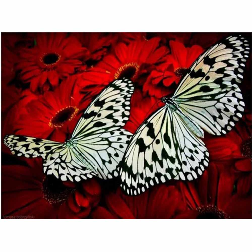 Flower diy diamond painting flowers full round butterfly daimond embroidery