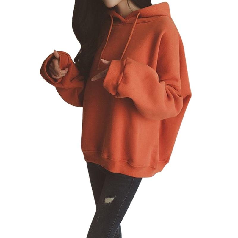 Autumn Winter Women's Hoodies Loose Long-sleeved Hooded Tops Korean Version Plus Velvet Solid Sweatshirt Female 2018 New Arrival