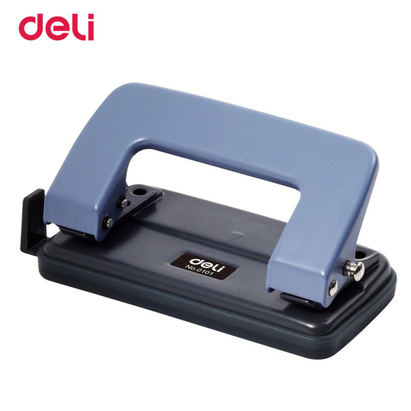 Deli School Office Metal Double Hole Puncher Hand Paper Punch Iron Single Hole Paper Punchs, Metal White Blue Normel Style Punch  free shipping office school hole puncher round double hole binding manual drilling machine fashion portable mini easy to use