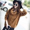 Invierno de Las Mujeres Suéteres Y Jerseys de Punto de Cuello Alto Suéter Sweter Mujer Coreana de Punto Jumper Pullover Manga Larga Pull Femme