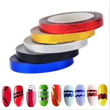 6Pcs/Lot Glitter Nail Tape Line 6 colors 5mm Wave Striping Adhesive Stickers Art Decoration Manicure DIY Tips 20M Long