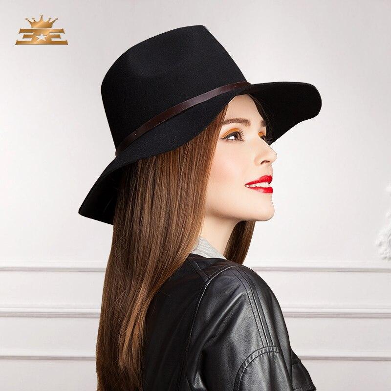 New England Fedora Jazz Hat Women 100% Wool Female Trilby Cap Ribbon Leather Belt Wool Hat New Panama Girl Cap B-7514