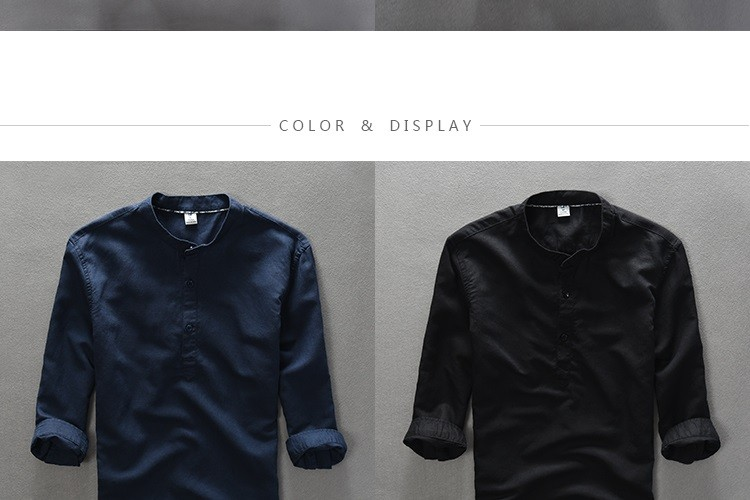 Men's Quality Casual Three Quarter Sleeves Stand Collar Solid Linen Shirt