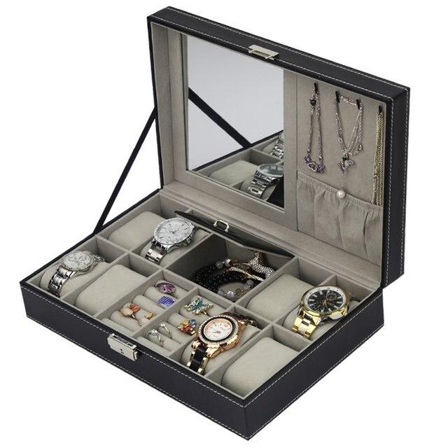 Caja de reloj de joyería caja de almacenamiento organizador pantalla soporte para pendientes anillo pulsera de cuero de la PU reloj de joyería multifuncional