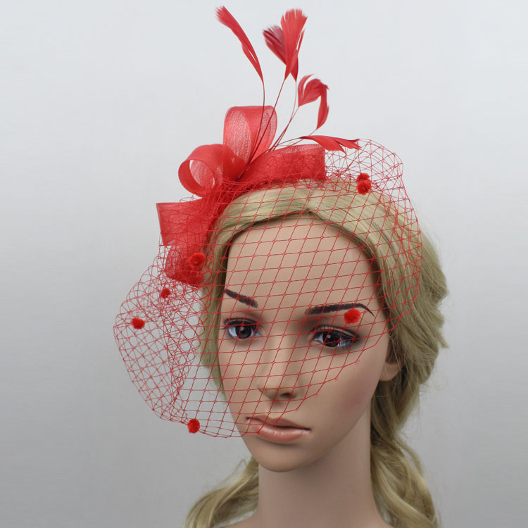 Red Fascinator Hats Wedding And Fascinators Sinamay For Races Party Church In Hair Accessories From Women S Clothing
