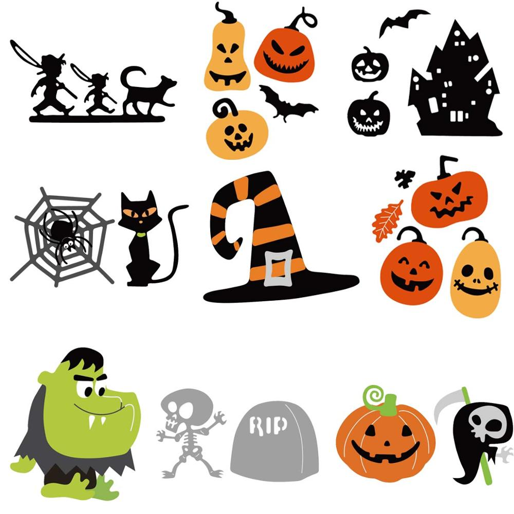 Cutting Dies Cut Stencils for DIY Scrapbooking Photo Album Decorative Embossing Paper Dies for Card Making Template Halloween Cat Pumpkin Metal Die Cuts
