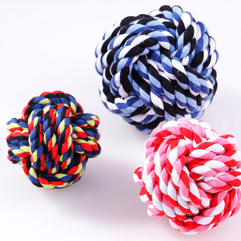 1pcs 6cm 7cm 8cm size Pet small dogs Rope Dogs Cottons Chews Toy Ball Play Braided Bone Knot For Fun Colorful colors dogs Toys in Dog Toys from Home Garden