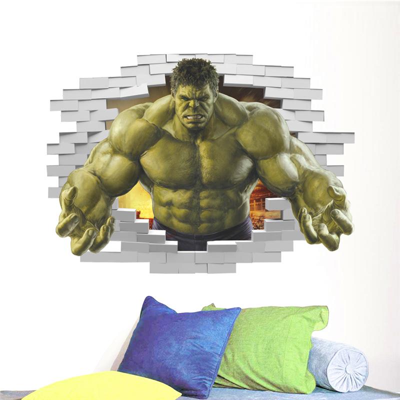HTB1o7ypQpXXXXcmXXXXq6xXFXXXP - violent Avengers Hulk Peel through wall sticker for kids rooms