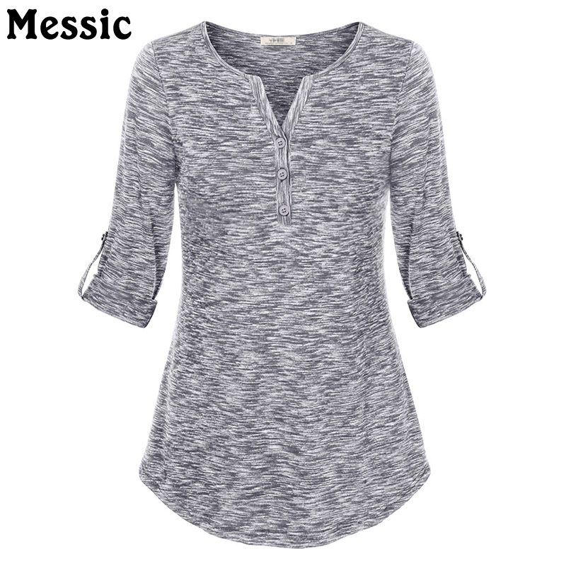 Women Henley V Neck Space Dyed Cuffed Sleeve T Shirt Tops 2018 Elegant V-Neck Knit Tee Shirt Slim Button Female Casual Tunic Top