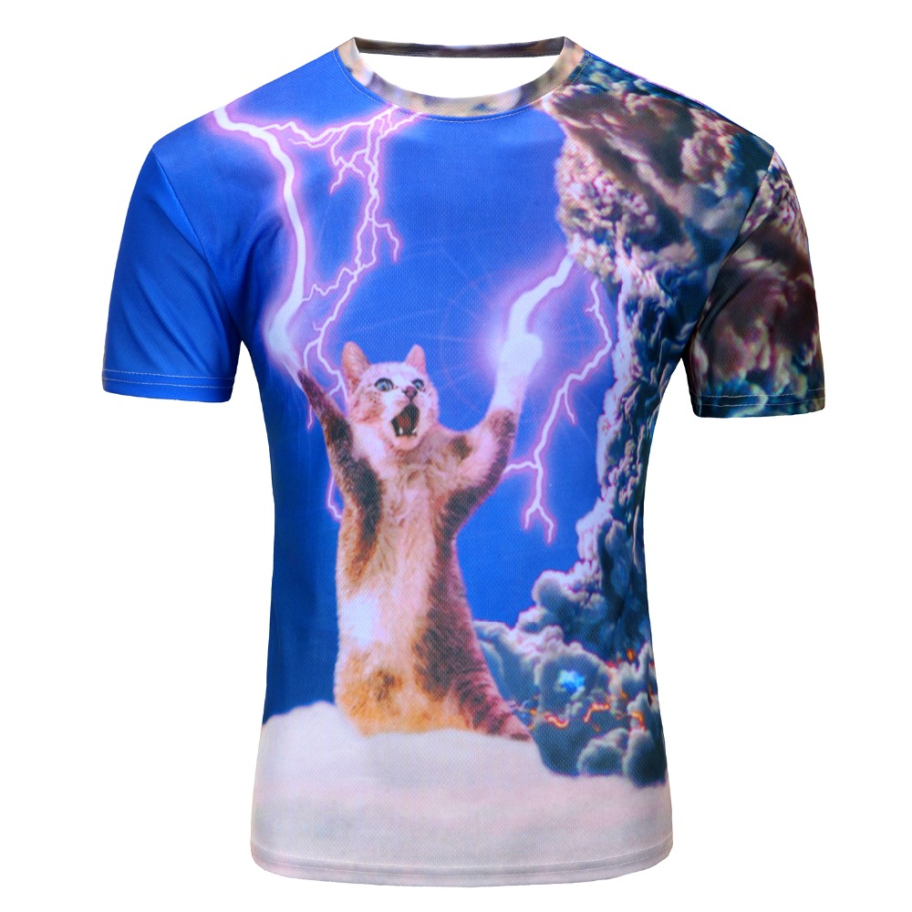 2016 New arrivals brand clothing 3D Printed Thundercat T-Shirt fearless kitty cat playing with lightning t shirts harajuku tees