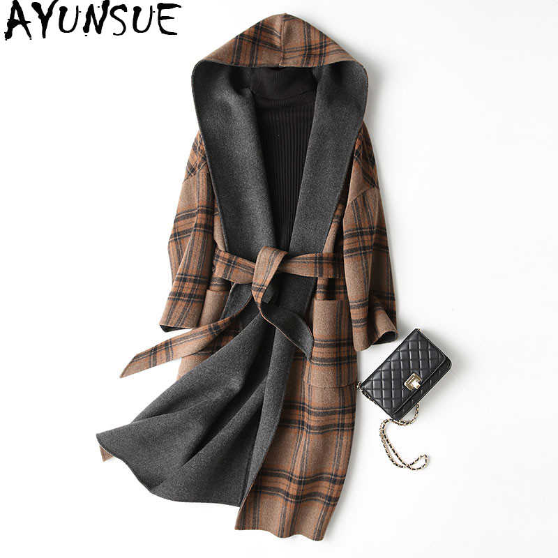 AYUNSUE 2019 Spring Autumn Wool Coat Female Sided Long Winter Jacket Women England Style Plaid Woolen Coats Hooded 37129 WYQ1174