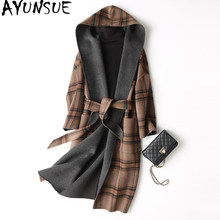 AYUNSUE 2018 Spring Autumn Wool Coat Female Sided Long Winter Jacket Women England Style Plaid Woolen Coats Hooded 37129 WYQ1174(China)