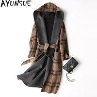 AYUNSUE 2019 Spring Autumn Wool Coat Female Sided Long Winter Jacket Women England Style Plaid Woolen Coats Hooded 37129 WYQ1174