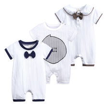 Top Newborn Baby Clothes 100%Cotton Knit Long Sleeve Baby Girl Romper Summer Toddler Boy Onesies Fashion Infant Clothing(China)