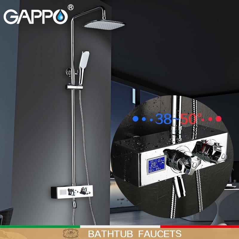 GAPPO Смесители для ванны Термостатические Смесители для душа настенный ЖК-цифровой дисплей смеситель для душа термостатический термостат к...