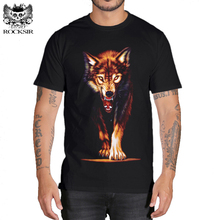 Rocksir 3D wolf Men's T-shirts New Men Animal 3D Printing cotton T shirts Summer casual wolf printed Tops Tees t shirt Plus Size