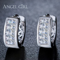Angel Girl Hot Sell Fashion Cubic Zircon Earrings Charm AAA Austrian Crystal Paved Small hoop earrings for women E45-60910