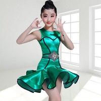 Girls' Latin Dance Dress Children Flamengo Dancing Costumes 3pcs Dress Belt Underwear Tango Dancing Competitions Dresses D 0273