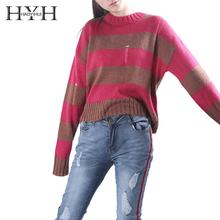 HYH HAOYIHUI Brand Women Red/Green Striped Casual Sweater O-Neck Long Sleeve Hole Sexy Wool Pullovers Female Sweet Tops Lady