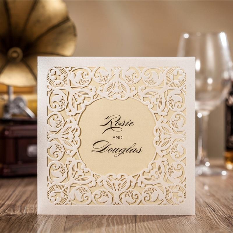 100pcs Ivory Hollow Flora Vintage Laser Cut Wedding Invitation Engagement Invitation Anniversary Invitation, CW6080