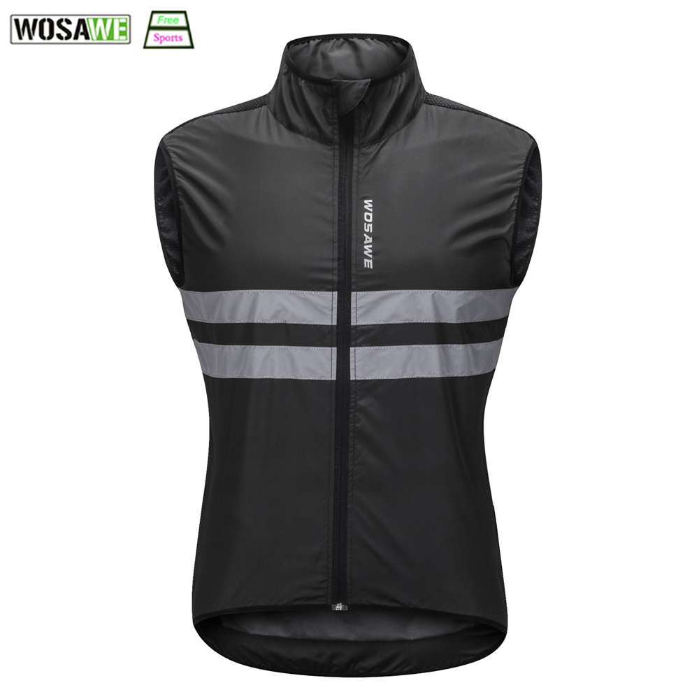 WOSAWE Reflective Waistcoat Men Cycling Vest Sleeveless MTB Road Racing Jersey Female Motorcycles Safety Visibility